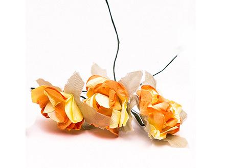 Розы бумажные №3 оранж